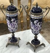 Pair Of Vases Vintage Gilt 18andrdquo Cobalt Hand Painted Floral Italian Signed Sceici