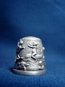 Vintage Very Rare Battersea Art Nouveau Pewter Thimble- Angels And Cherubs At Play