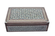 Egyptian Mother Of Pearl Inlaid Jewelry Box Stars Design 14 X 9 Unique 125