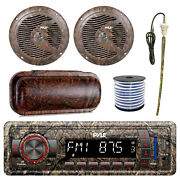 Pyle Marine Bluetooth Camo Radio + Cover 2x 6.5and039and039 Speakers Antenna 50 Ft Wire