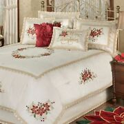 Poinsettia Palace 7 Piece Embroidered Holiday Comforter Bedding Set Champagne