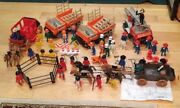 Vintage Playmobil 1977-78 Construction Trucks,firetruckwagons And People And Access