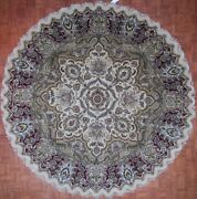 Authentic Wool 10and039 0 X 10and039 0 India Agra Round Rug Rnr-9040