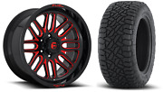 20x10 Fuel D663 Ignite Red 33 At Wheel And Tire Package 6x5.5 Chevy Silverado