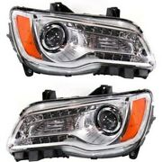 Headlight Set For 2011-2014 Chrysler 300 Left And Right With Bulb 2pc