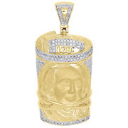 10k Yellow Gold Diamond 100 Bill Rolled Up Benjamin Franklin Face Charm 0.71 Ct