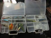 15 Assorted Large Freshwater Fishing Lures W/ 2 Plano Clear Handled Lure Boxes