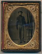 1862 Civil War Tintype Soldier In Full Uniform Large And Detailed