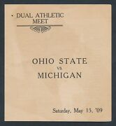 1909 Ohio State V. Michigan Incollegiate Track Program And Entry Numbers