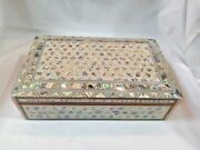 Egyptian Mother Of Pearl Paua Handmade Wooden Inlaid Jewelry Box 10 X 6.5 559
