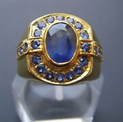 Menand039s 18k Solid Gold Blue Sapphire Ring