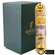 New Gold Accents Hand Painted Enamel Mezuzah Embellished With Matashi Crystals