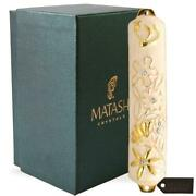 Hand Painted White Enamel Mezuzah Embellished With A Floral Design By Matashi