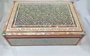 Egyptian Mother Of Pearl Paua Wooden Inlaid Jewelry Box Handmade 12 X 8 560