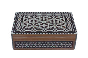 Egyptian Mother Of Pearl Wooden Inlaid Jewelry Box Handmade 12 X 8 995