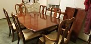 Cherry Wood Dining Room Table/ Leaf Extens. And 6 Chairs And Lighted China Cabinet.andnbsp