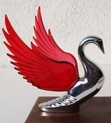 Chrome Metal Swan Hood Ornament With Red Lighted Wings And Free Light. New