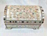 Egyptian Inlaid Paua Shell Mother Of Pearl Wood Jewelry Cigarette Box 8.3 993