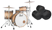 Pearl Masters Complete 24x14_13x9_16x16 Satin Natural Burst Drums New +free Bags