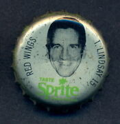 1964-65 Sprite Bottle Cap W/ Cork Ted Lindsay Detroit Red Wings Nice Condition