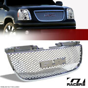 For 2007-2014 Gmc Yukon Denali Chrome Round Hole Mesh Front Bumper Grill Grille