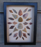 N8 6x8 Framed Neolithic Artifacts Display Arrowheads Celts Points Arrow Head