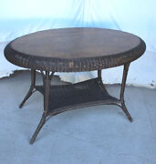 Antique Wicker And Oak Oval Shaped Table Andndash Original Andndash 45 X 29 1/2