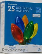 Christmas Holiday Time 2-25 Led C9 Multi Color Lights Green Wire Indoor/outdoor