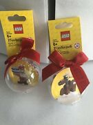 Lot Of 2 Retired Sold Out Lego Ornaments Reindeer Santa Brand New
