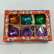Vintage West German Christmas Tree Ornaments Lithograph Box Hand Blown Glass
