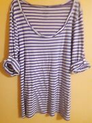 Old Navy Womenand039s Top Size L Striped 3/4 Sleeve Round Neck Casual