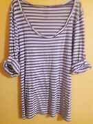 Old Navy Women's Top Size L Striped 3/4 Sleeve Round Neck Casual