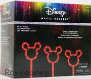 Gemmy Christmas Disney Magic Holiday 3 Mickey Mouse Light Bulb Pathway Stakes