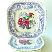 Four4 Spode Mayflower Square Lunch Plates Lavender And White Floral Beautiful