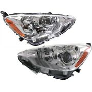 Headlight Set For 2012-2014 Toyota Prius C Left And Right With Bulb Capa 2pc