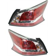 Halogen Tail Light Set For 2014-2015 Nissan Altima Clear/red Lens W/ Bulbs 2pcs