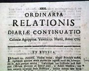 Rare And Early Cologne Germany Rhine River Colony 18th Century 1751 Old Newspaper