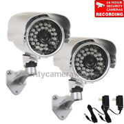 2 Security Camera 700tvl Outdoor Ir Day Night Wide Angle With Sony Effio Ccd Bdw