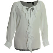 Inc 1x 2x 3x White Long Sleeve Ruffle Tie Front High-low Blouse Nwt Free Ship