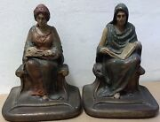 """Antique Bookends Devout Women Robe Reading Painted Metal 3 Lb 7.5"""" Tall Library"""