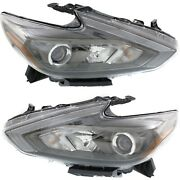 Headlight Set For 2016-2018 Nissan Altima Left And Right Smoked Housing 2pc