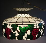 Fine Bigelow And Kennard Stained Leaded Glass Ceiling Lamp C. 1920 Antique