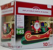 Christmas Airflowz 10 Ft Santa In Sleigh With Toy Bag Sack Airblown Inflatable