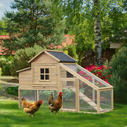 Pawhut 69 Chicken Coop Includes Connecting Ramp And An Easy-clean Tray White
