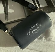 Dior Roller Pouch In Navy Grained Calfskin - Christian Dior Atelier Print