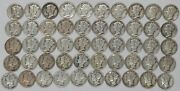 1930 S Mercury Dime 10c Vf/vf+ Very Fine To Very Fine Plus Full Roll 50 Coins
