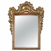 18th Century Antique French Rococo Foliate And Gadroon Giltwood Wall Mirror