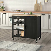Kitchen Rolling Island Cart/trolley/dining Storage Cabinet On Wheels - Black