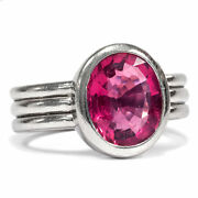 High-quality Hand-forged White Gold Ring With Big Rubellite Um 2000