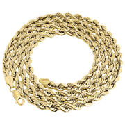 Real 10k Yellow Gold Solid Rope Chain 5mm Shiny Twist Necklace 20-30 Inches